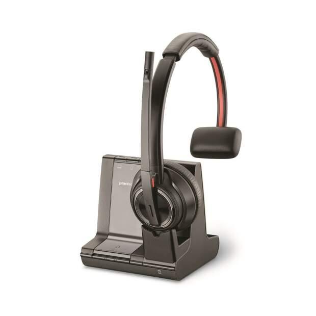POLY Savi 8210-M Office Mono DECT Headset inkl. Basis für Tischtelefon PC Mobiltelefon Microsoft zertifiziert