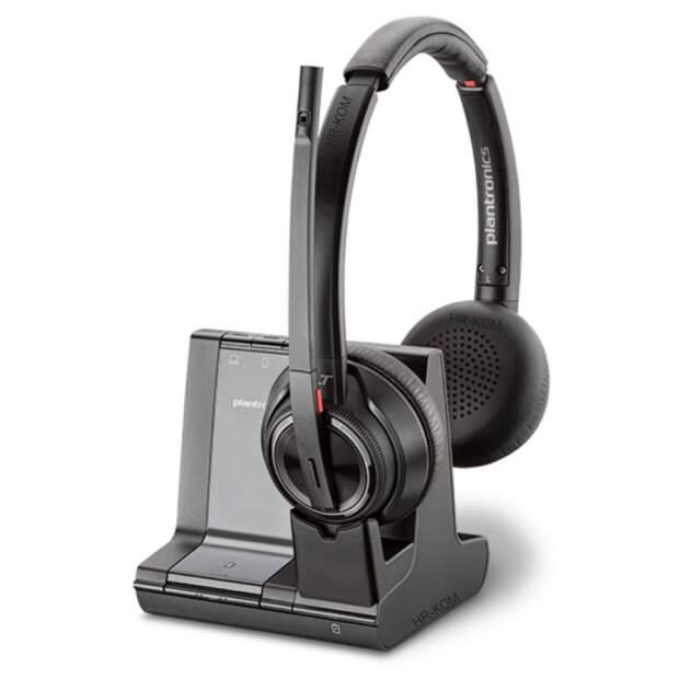 PLANTRONICS Savi 8220-M Office Stereo DECT Headset inkl. Basis ANC für Tischtelefon PC Mobiltelefon Microsoft zertifiziert Teams